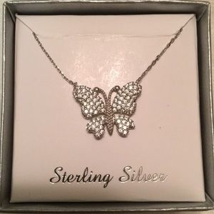 Sterling silver butterfly with crystal necklace